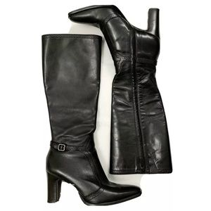 Antonio Melani Black Leather Knee High Heeled Boot